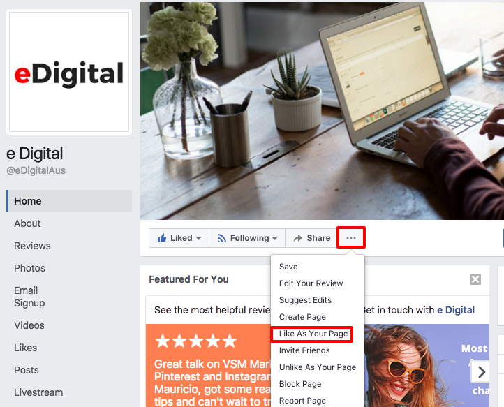how to like a Facebook page as your business page