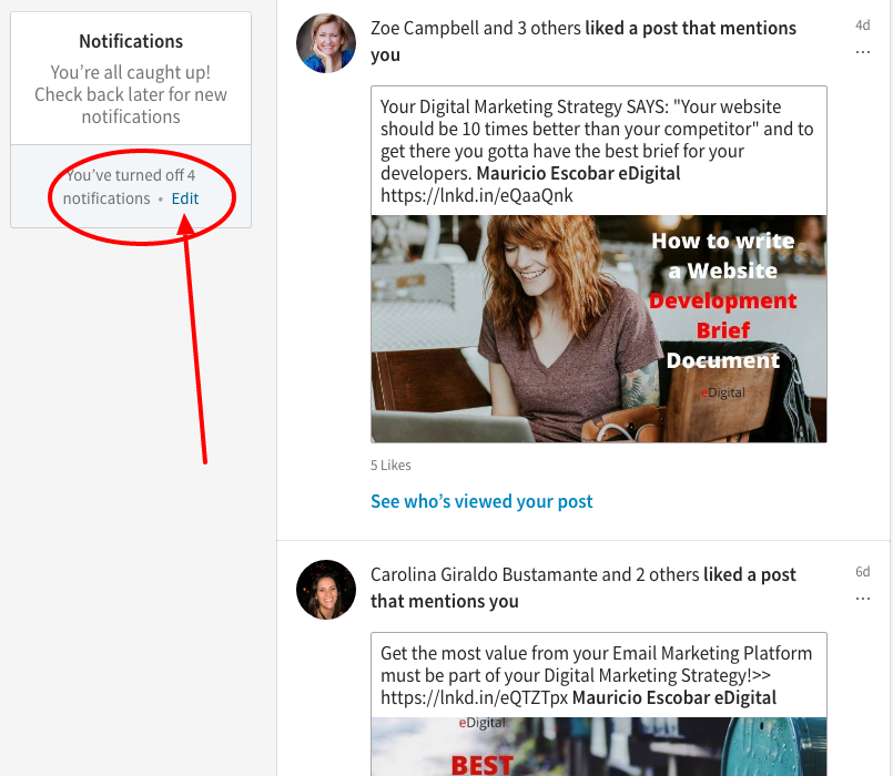 how to remove job changes notifications linkedin