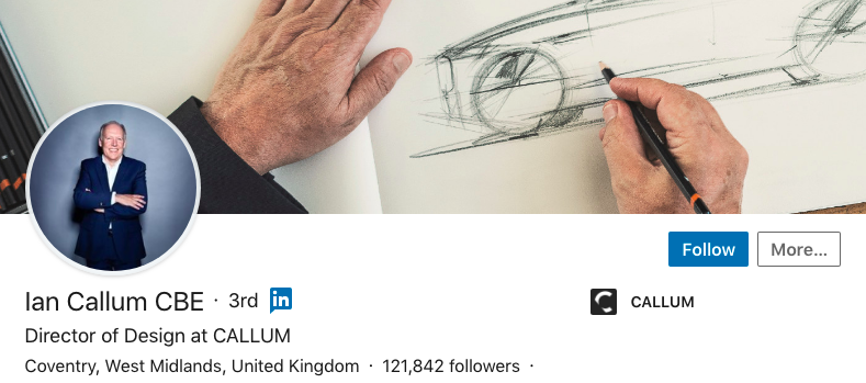 ian callum linkedin profile cover image car designer