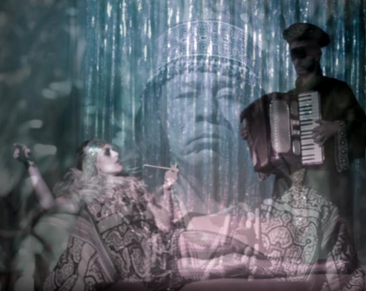 indigenous burlesque woman acordion blind curandero chaman