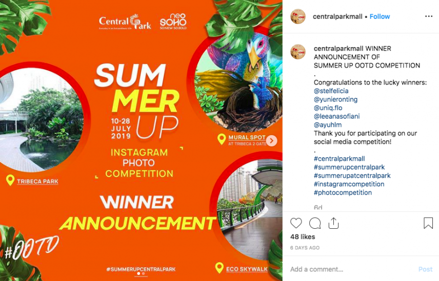 instagram competition winner announcement example - central park mall