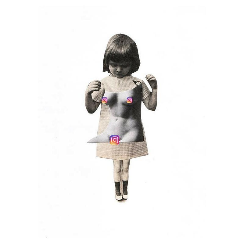 instagram girl nudity rule ban forbidden body nude photo collage illustration kerstin deinert logo