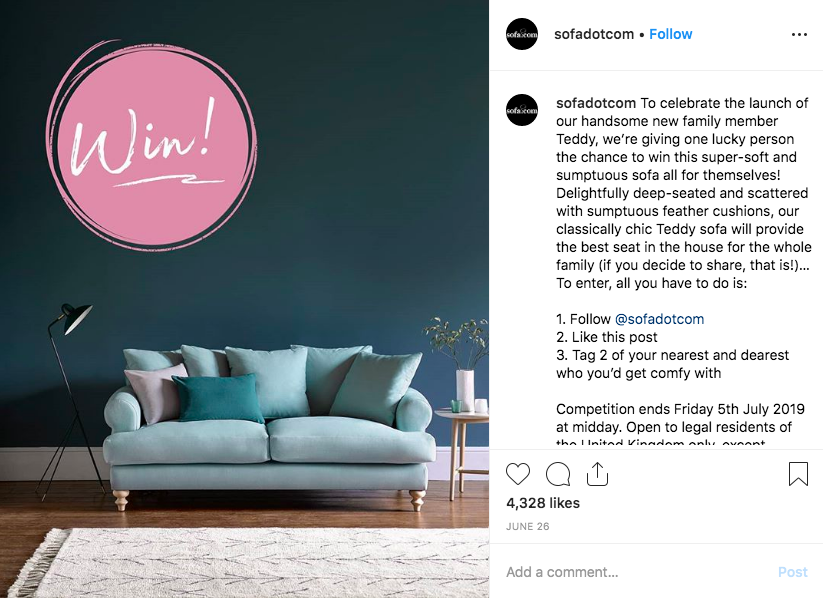 instagram giveaway contest example - sofadotcom sofa competition 4451 comments