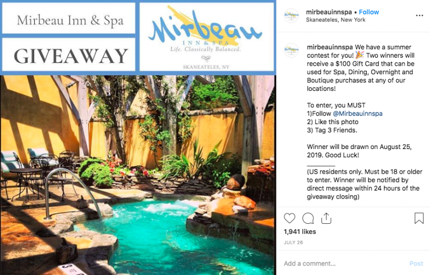 instagram giveaway contest mirbeau inn spa 100 dollar voucher competition - 1745 comments