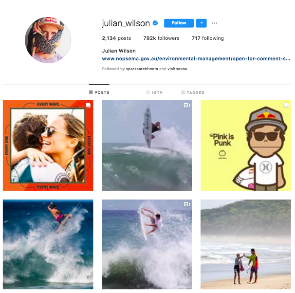 julian wilson surfer most popular australians on instagram list
