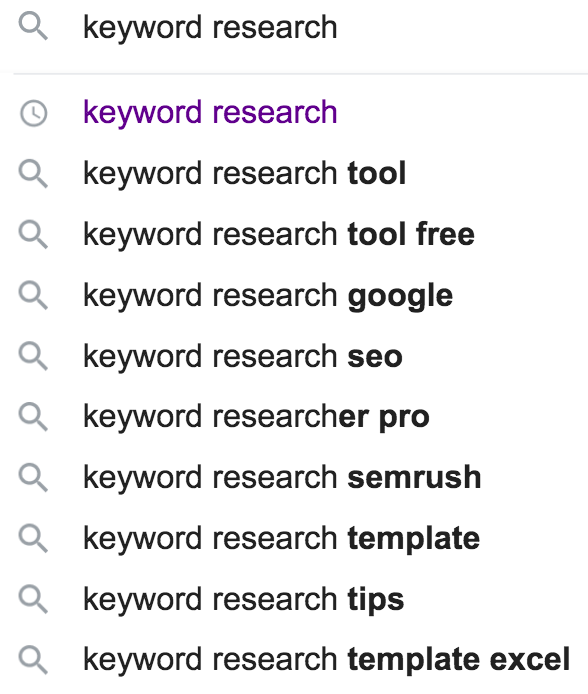 keyword research google autocomplete