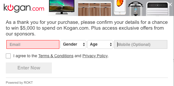 kogan pop up widget thank you page transaction rokt win 5000 voucher