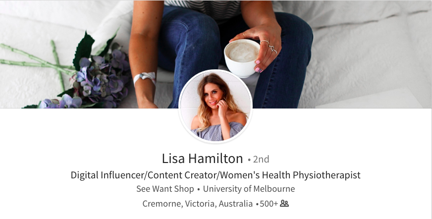 linkedin background photo ideas drinking coffee lisa hamilton health influencer