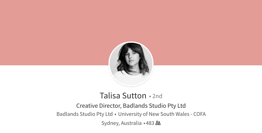 linkedin background photo ideas plain colour talisa sutton creative director