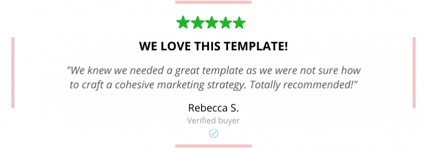 marketing plan strategy template - Rebecca testimonial