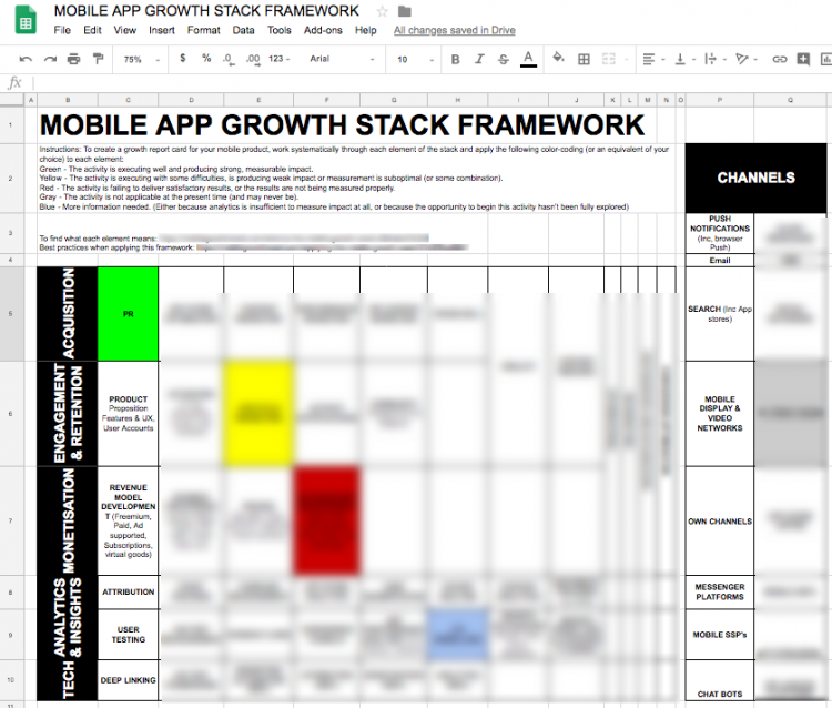 mobile app growth stack framework google sheets