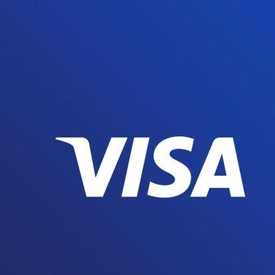 new visa payments credit card logo white font blue background