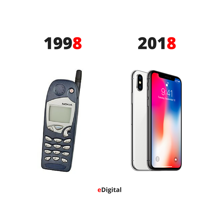 nokia mobile phone 1998 vs iphone x cell 2018