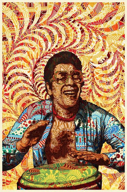 ray barreto playing congas acid illustration