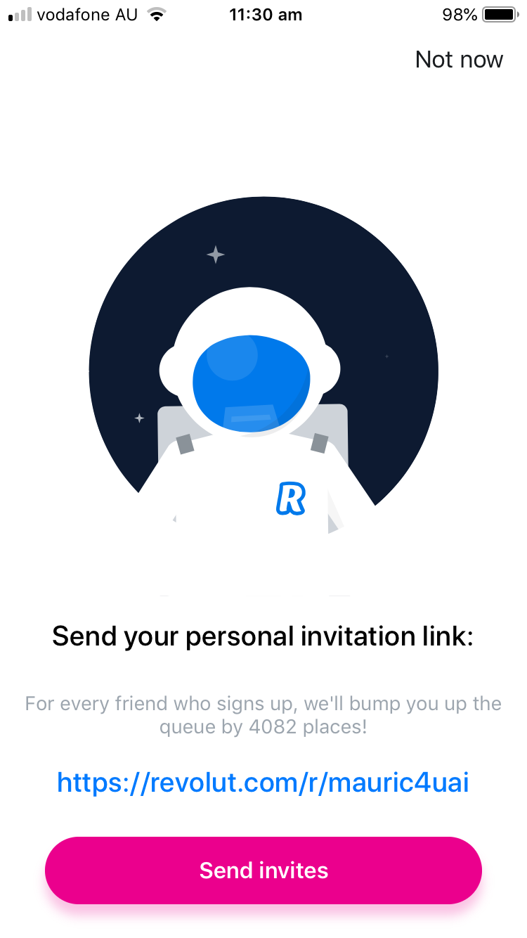 revolut app invitation link message screen neobank fintech