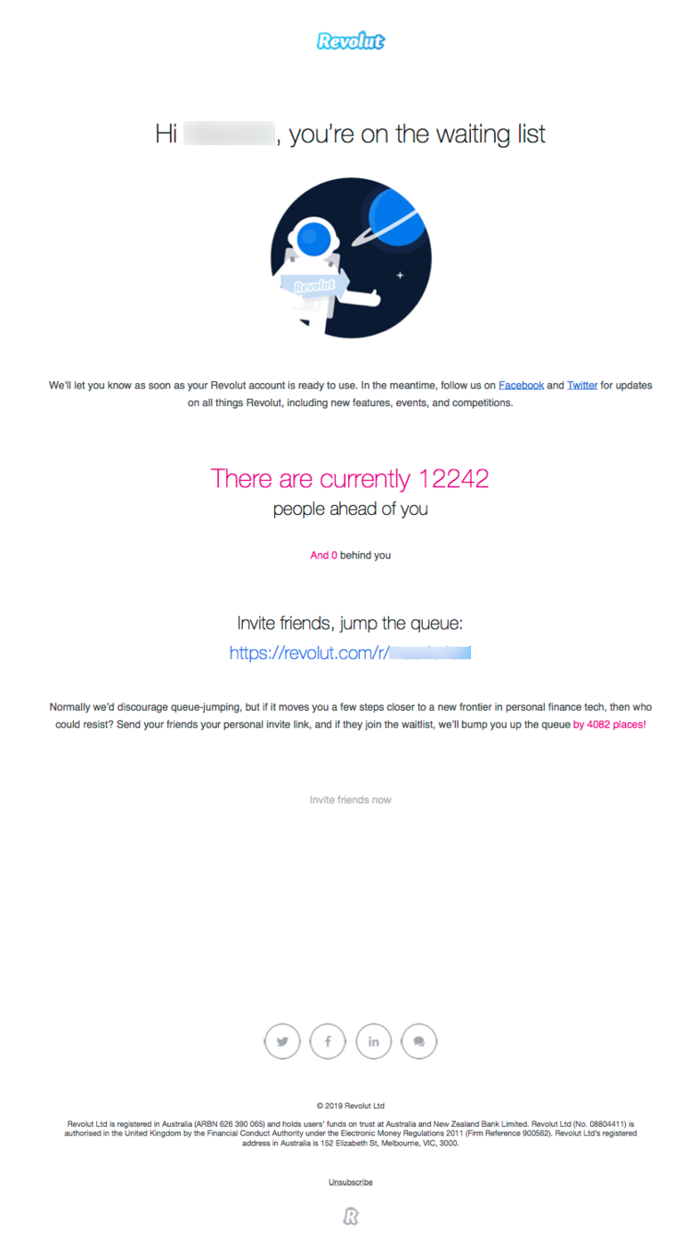 revolut waiting list email confirmation example neobank fintech