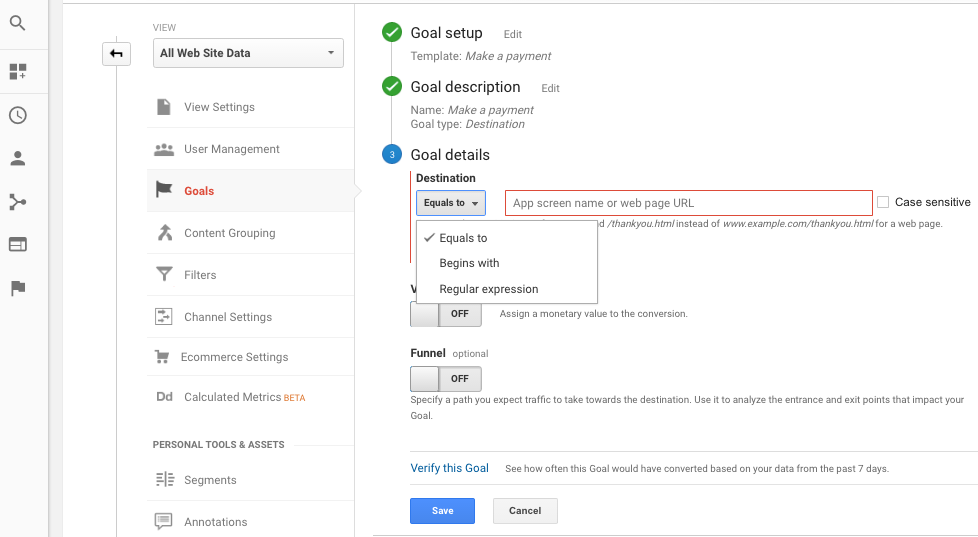 setting goals google analytics details equals to begins with regular expression options
