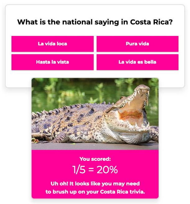 shortstack quiz maker example costa rica