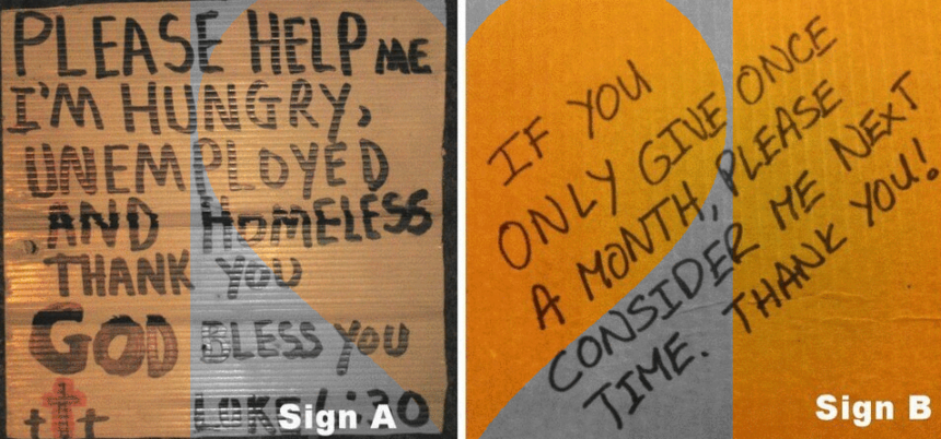 simon sinek homeless sign best copywriting example tap into emotion