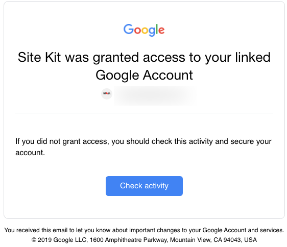 site kit email alert granting access
