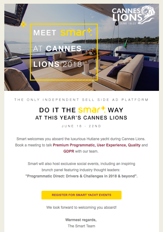 smart programatic platform meet cannes yatch events june 2018