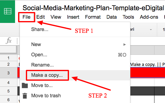 social media marketing plan google sheets how to-make a copy of template