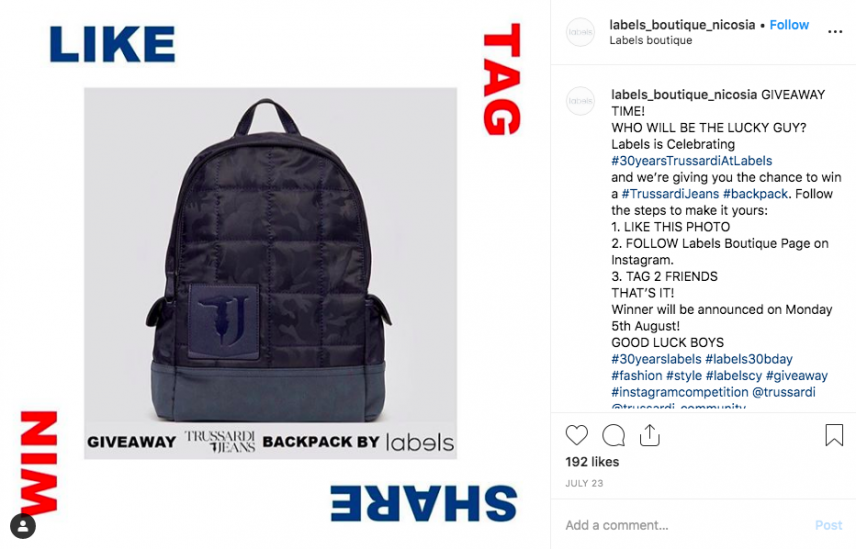successful instagram competition idea - backpack giveaway 300 plus comments