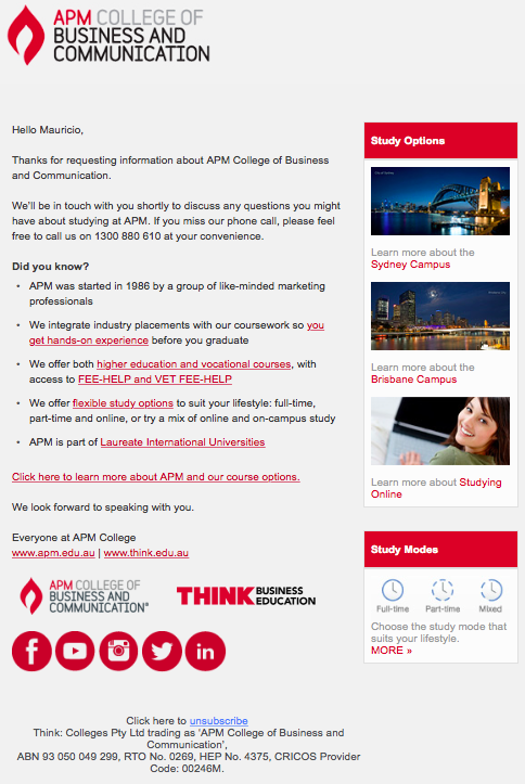 thank you email apm college of business and education australia example sample edigital