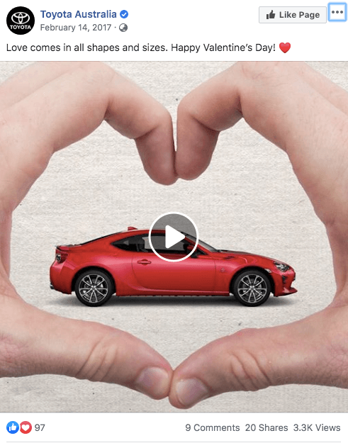 toyota australia valentines day animated gif image different cars inside heart shaped hands fingers facebook post