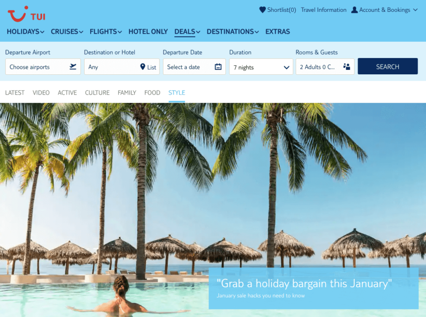 tui january sale holiday deals travel offers