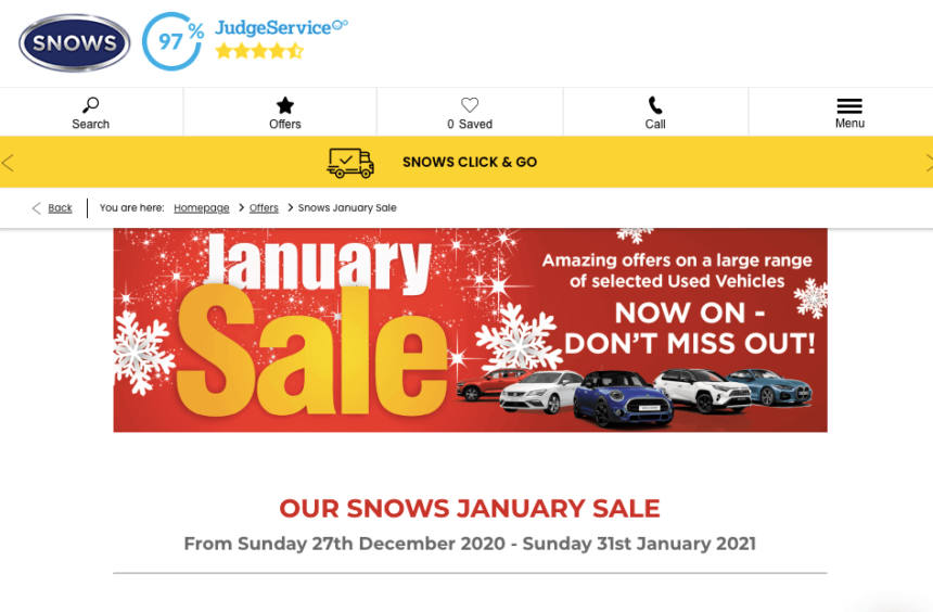 used car january sale deals offers snows