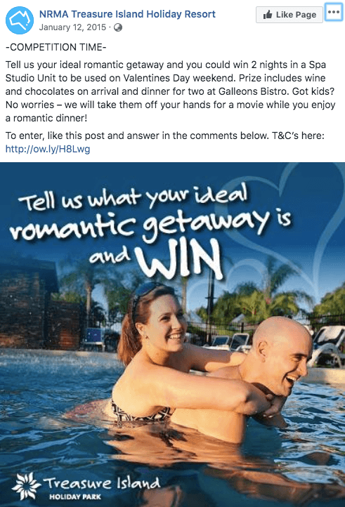 valentines day marketing campaign idea example NRMA two nights romantic getaway competition