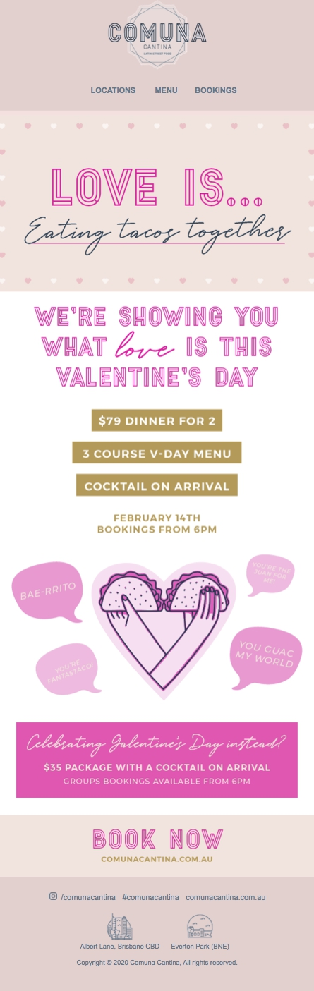 valentines day restaurant offer example email comuna cantina brisbane