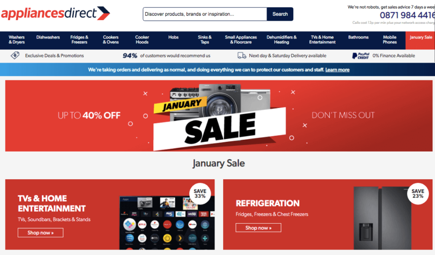 washing machines January sale deals offers appliances direct