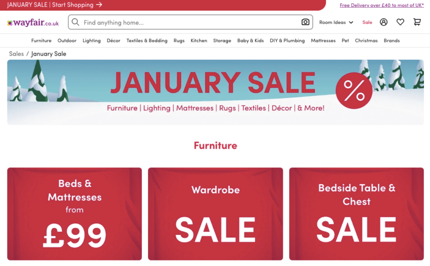 wayfair january sales offers deals