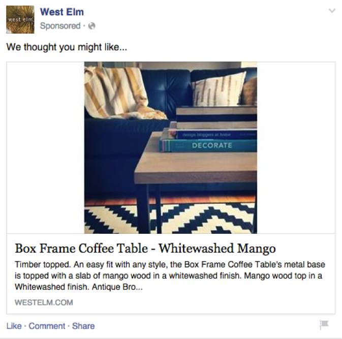 West Elm facebook ad user generated content facebook