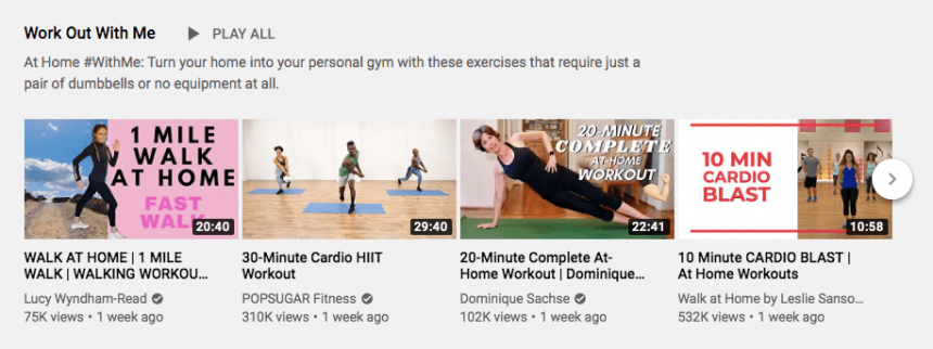 workout with me featured category playlist youtube