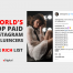 world top paid instagram influencers rich list